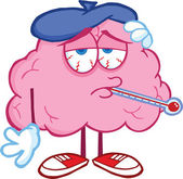 Sick Brain Character With Thermometer — Stock Photo