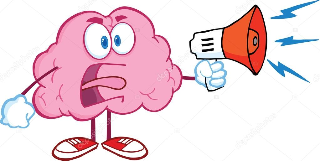 愤怒的大脑卡通人物尖叫着喊话器– 图库图片
