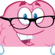 Brain Cartoon Character With Glasses Over A Blank Sign — Stock Photo