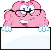 空白記号で眼鏡と脳文字 — ストック写真