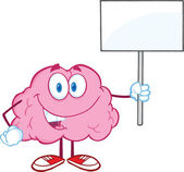 Brain Character Holding Up A Blank Sign — Stock Photo