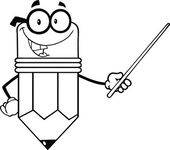 Outlined Smiling Pencil Teacher Character Holding A Pointer — Stock Photo