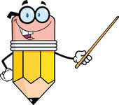 Smiling Pencil Teacher Character Holding A Pointer — ストック写真
