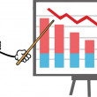 Stock Photo: Grumpy Business Pencil Character With Pointer Presenting Falling Chart