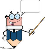 Business Pencil Character Holding A Pointer With Speech Bubble — Stock Photo