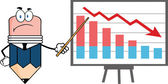 Grumpy Business Pencil Character With Pointer Presenting A Falling Chart — Stock Photo