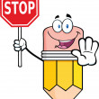 Pencil Cartoon Character Holding A Stop Sign — Stock Photo