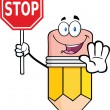 Stock Photo: Pencil Cartoon Character Holding Stop Sign