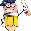 Stock Photo: Happy Pencil Character Graduate Holding Diploma