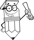 Outlined Happy Pencil Character Graduate Holding A Diploma — Stock Photo