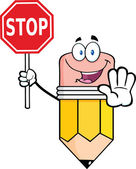 Pencil Cartoon Character Holding A Stop Sign — Стоковое фото