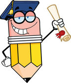 Happy Pencil Character Graduate Holding A Diploma — Stock Photo