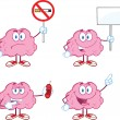 Brain Cartoon Mascot Collection 5 — Stock Photo