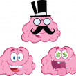 Brain Cartoon Mascot Collection 12 — Stock Photo