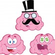 Stock Photo: Brain Cartoon Mascot Collection 12