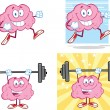 Stock Photo: Brain Cartoon Mascot Collection 14