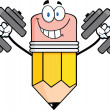 Smiling Pencil Character Training With Dumbbells — Stock Photo
