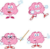 Brain Cartoon Mascot Collection 1 — Stock Photo