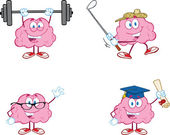 Brain Cartoon Mascot Collection 2 — Stock Photo