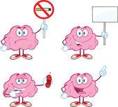 大脑卡通吉祥物集合 5 — 图库照片