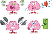 Brain Cartoon Mascot Collection 4 — Stock Photo