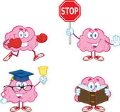 Brain Cartoon Mascot Collection 3 — Stock Photo