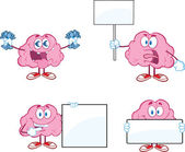 Brain Cartoon Mascot Collection 6 — Stock Photo