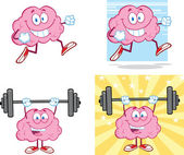 Brain Cartoon Mascot Collection 14 — Stock Photo