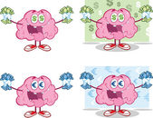 Brain Cartoon Mascot Collection 16 — Stock Photo