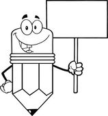 Outlined Pencil Character Holding A Blank Sign — Stock Photo