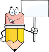 Smiling Pencil Character Holding A Blank Sign — Stock Photo