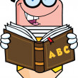 Smiling Pencil Teacher Character Reading A School Book — Foto Stock