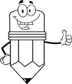 Outlined Happy Pencil Character Giving A Thumb Up — Stock Photo