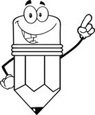 Outlined Smiling Pencil Character Pointing With Finger — Stock Photo