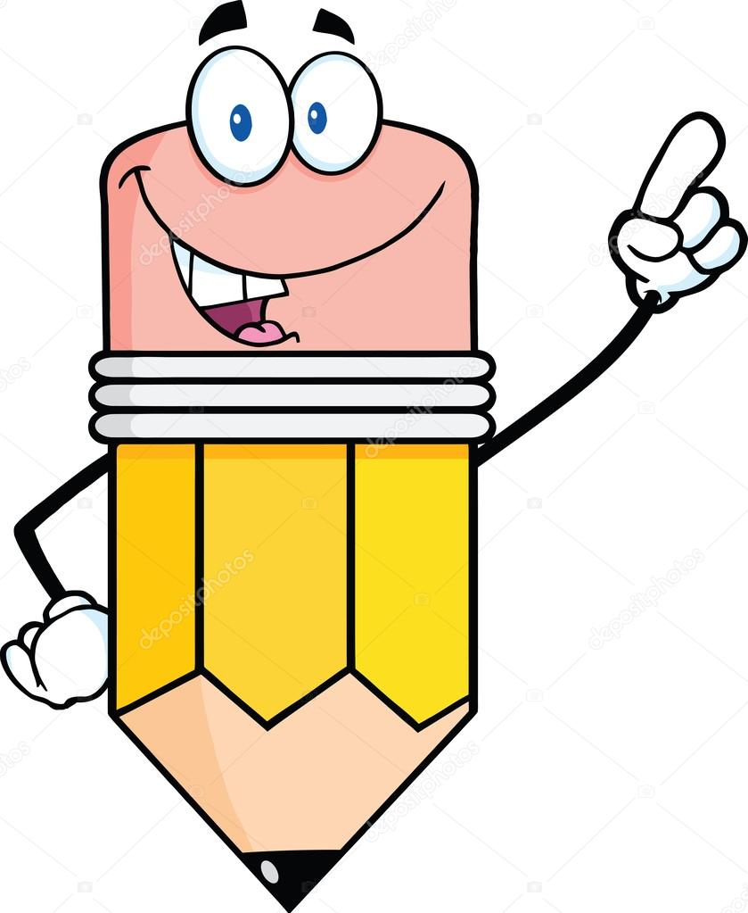 Cartoon Characters 3 Fingers : Smiling pencil character pointing with finger — stock