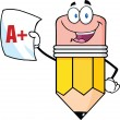 Smiling Pencil Holding An A Plus Report Card — Stock Photo