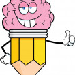 Stock Photo: Clever Pencil Character With Big Brain Giving A Thumb Up
