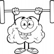 Outlined Brain Lifting Weights — Stock fotografie