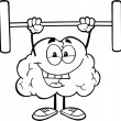 Outlined Brain Lifting Weights — Lizenzfreies Foto