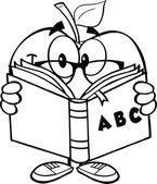 Přehledem apple učitel s knihou — Stock fotografie