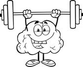 Outlined Brain Lifting Weights — Stock Photo