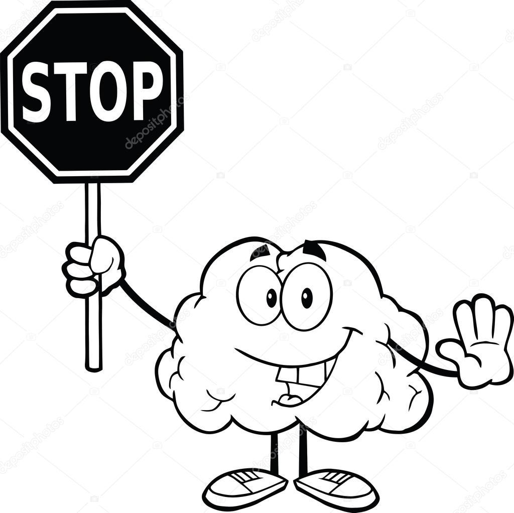 Cerveau d crit tenant un panneau darr t photographie hittoon 29086323 - Prix d un panneau stop ...