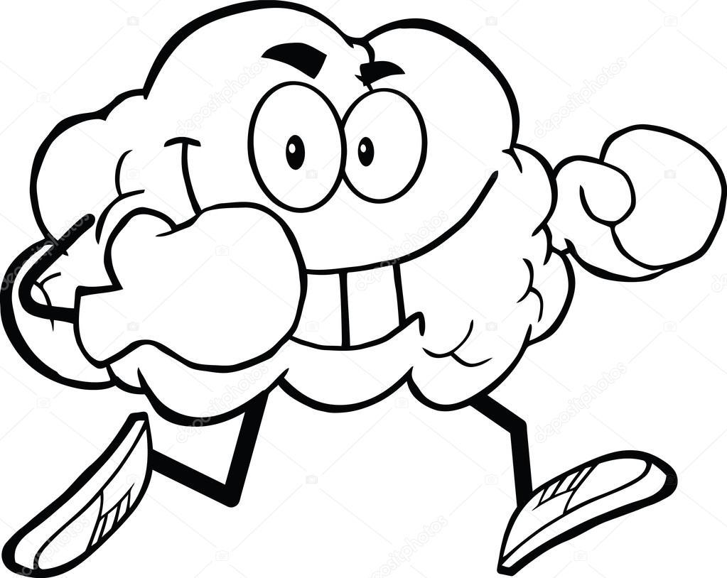 overzicht hersenen met bokshandschoenen stockfoto