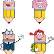Stock Photo: Pencil Characters. Set Collection 7