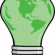 Stock Photo: Cartoon Light Bulb Green Earth