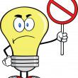 Angry Light Bulb Character Holding up A Red Forbidden Sign — Stock Photo