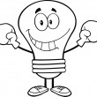 Outlined Smiling Light Bulb Character Wearing Boxing Gloves — Stock Photo