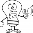 Outlined Angry Light Bulb Character Screaming Into Megaphone — Stock Photo #29435373