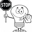 Outlined Light Bulb Character Holding A Stop Sign — Stock Photo