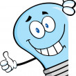 Smiling Blue Light Bulb Giving Thumb Up Behind Sign — Stock Photo #29435511